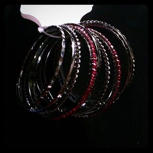 Jewelry - bangles with red beads. Brand new from Kohl's